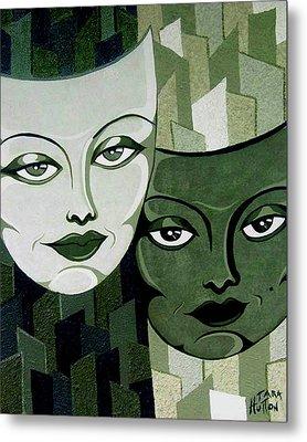 Masks Verde Metal Print