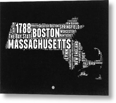 Massachusetts Black And White Word Cloud Map Metal Print by Naxart Studio