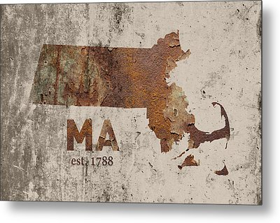 Massachusetts State Map Industrial Rusted Metal On Cement Wall With Founding Date Series 016 Metal Print by Design Turnpike