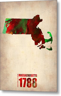 Massachusetts Watercolor Map Metal Print by Naxart Studio