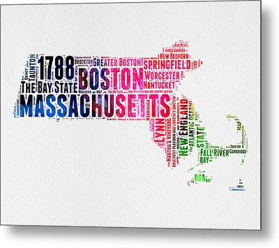Massachusetts Watercolor Word Cloud Map  Metal Print by Naxart Studio