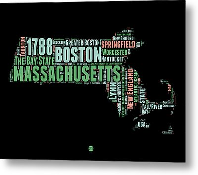 Massachusetts Word Cloud Map 1 Metal Print by Naxart Studio