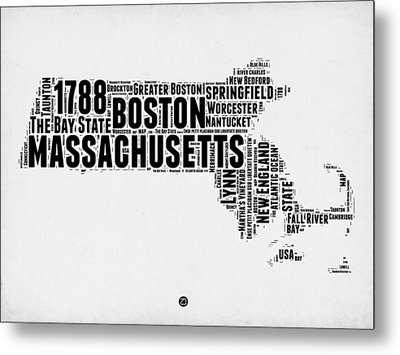 Massachusetts Word Cloud Map 2 Metal Print by Naxart Studio