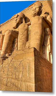 Massive Statues Of Ramses The Great At Abu Simbel Metal Print by Mark E Tisdale