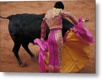Matador And Bull Metal Print by Carl Purcell