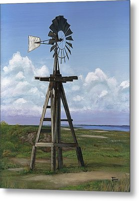 Metal Print featuring the painting Matagorda Beach Windmill by Jimmie Bartlett
