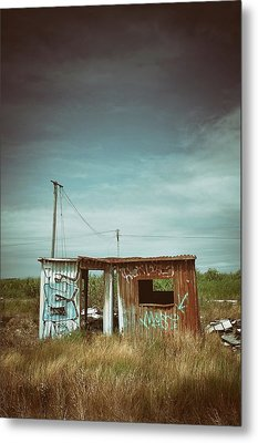 Metallic Container Shed  Metal Print by Carlos Caetano