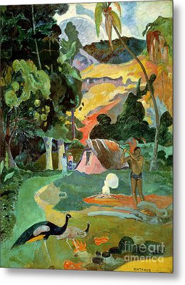 Matamoe Or Landscape With Peacocks Metal Print by Paul Gauguin