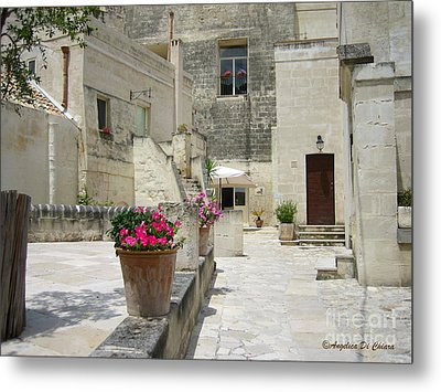 Matera With Flowers Metal Print by Italian Art