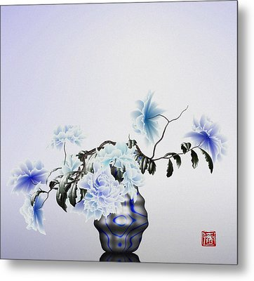 Math Flowers In Blue 2 Metal Print by GuoJun Pan