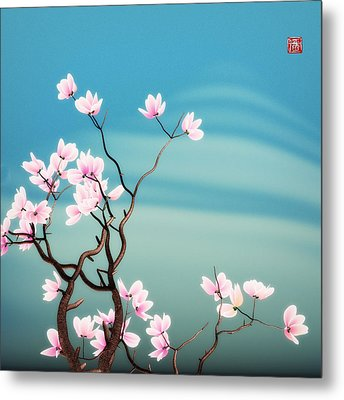 Math Magnolia Metal Print by GuoJun Pan