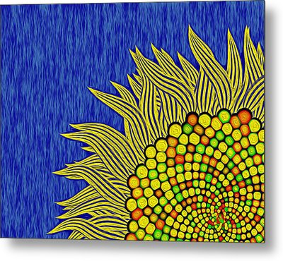 Math Sunflower1 Metal Print by GuoJun Pan