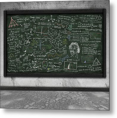 Maths Formula On Chalkboard Metal Print by Setsiri Silapasuwanchai