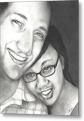 Metal Print featuring the drawing Matt And Jasmine by AC Williams