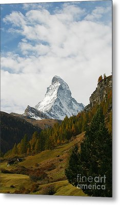Matterhorn In The Fall Metal Print by Stan and Anne Foster