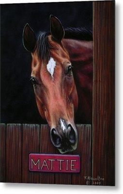 Mattie - Horse Portrait Metal Print by Yvonne Hazelton