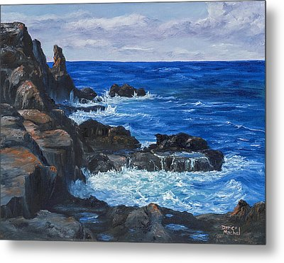Metal Print featuring the painting Maui Rugged Coastline by Darice Machel McGuire