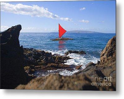 Maui Sailing Canoe Metal Print by Ron Dahlquist - Printscapes