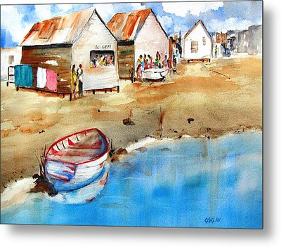 Mauricio's Village - Beach Huts Metal Print by Carlin Blahnik