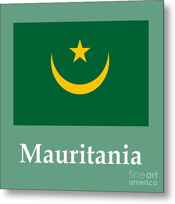 Mauritania Flag And Name Metal Print by Frederick Holiday