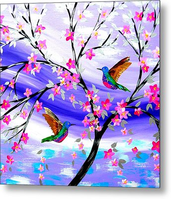 Mauve Fantasy With Sakura Metal Print by Cathy Jacobs
