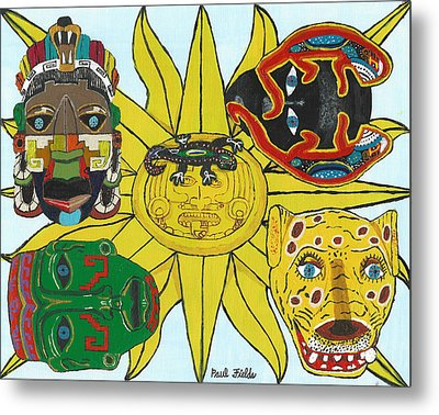 May  Aztec Masks Metal Print
