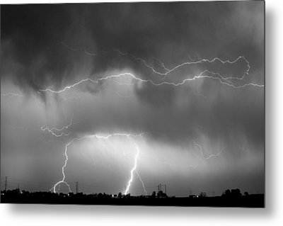 May Showers - Lightning Thunderstorm  Bw 5-10-2011 Metal Print by James BO  Insogna