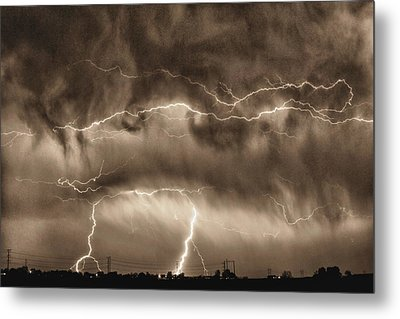 May Showers - Lightning Thunderstorm Sepia Hdr Metal Print