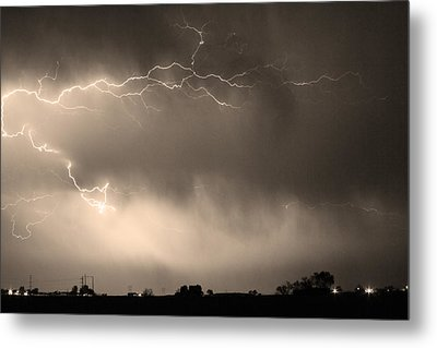 May Showers 2 In Sepia - Lightning Thunderstorm 5-10-2011   Metal Print by James BO  Insogna