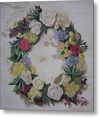 May Wreath Metal Print