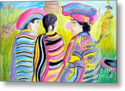 Mayan Indians Metal Print by Stanley Morganstein