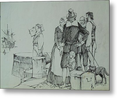 Metal Print featuring the drawing Mayflower Departure. by Mike Jeffries