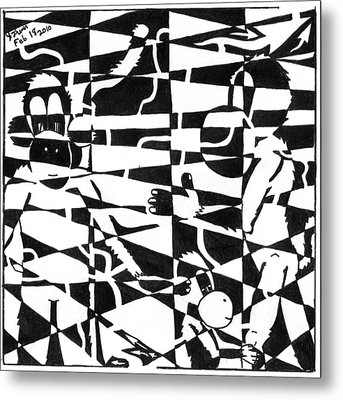 Maze Memoirs Of The Invisible Monkeys Metal Print by Yonatan Frimer Maze Artist
