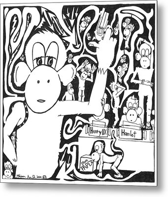 Maze Of A Team Of Monkeys Typing The Complete Works Of Shakespeare Metal Print by Yonatan Frimer Maze Artist