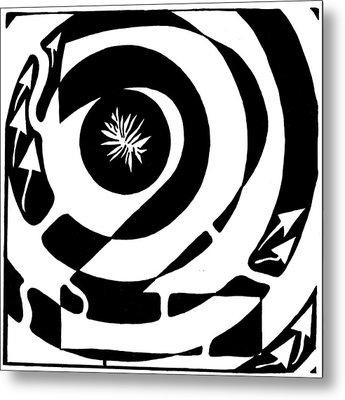 Maze Of Number Two Metal Print by Yonatan Frimer Maze Artist