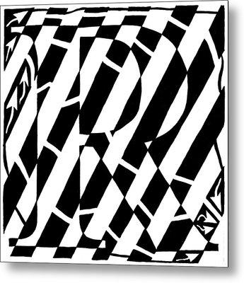 Maze Of The Letter R Metal Print by Yonatan Frimer Maze Artist