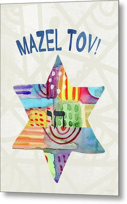Mazel Tov Colorful Star- Art By Linda Woods Metal Print by Linda Woods