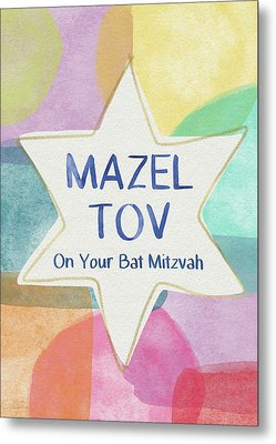 Mazel Tov On Your Bat Mitzvah- Art By Linda Woods Metal Print by Linda Woods