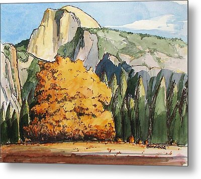 Metal Print featuring the painting Meadow At Half Dome by Terry Banderas
