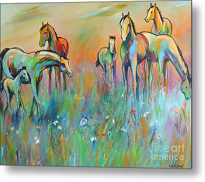 Metal Print featuring the painting Meadow by Cher Devereaux
