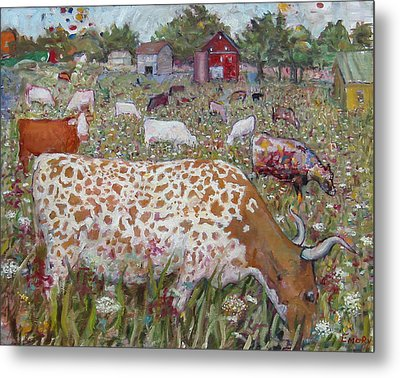 Meadow Farm Cows Metal Print