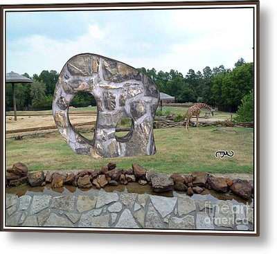 Meadow With The Statue Of The Elephant 2 Metal Print