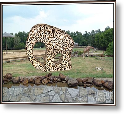 Meadow With The Statue Of The Elephant 3 Metal Print