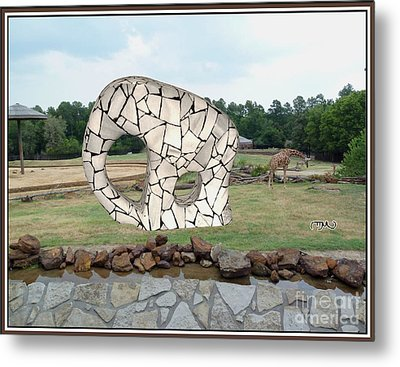 Meadow With The Statue Of The Elephant 4 Metal Print
