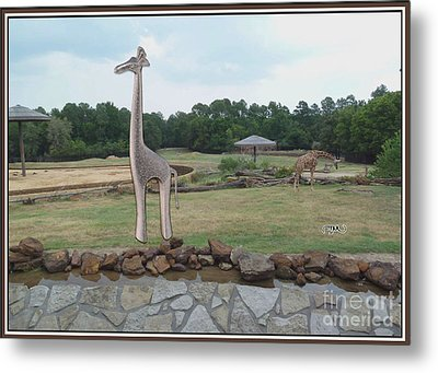 Meadow With The Statue Of The Giraffe 1 Metal Print