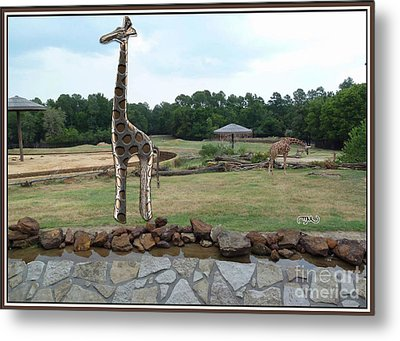 Meadow With The Statue Of The Giraffe 10 Metal Print