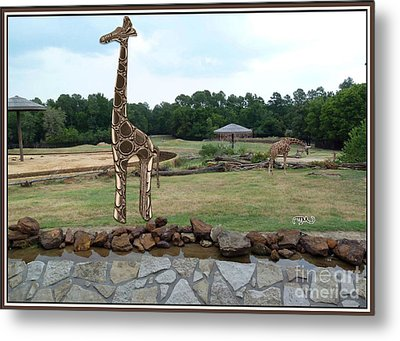 Meadow With The Statue Of The Giraffe 12 Metal Print