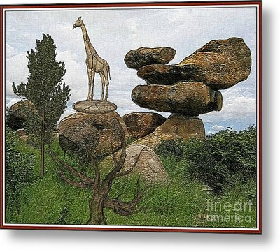 Meadow With The Statue Of The Giraffe 14 Metal Print