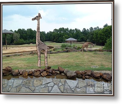 Meadow With The Statue Of The Giraffe 3 Metal Print