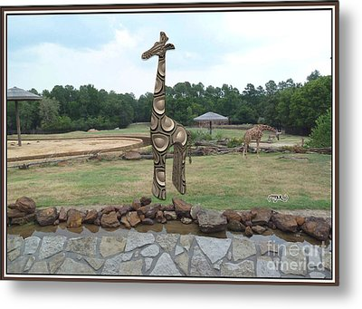 Meadow With The Statue Of The Giraffe 6 Metal Print